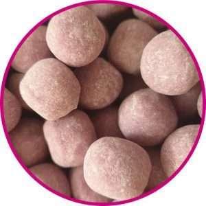 close up of blackcurrant bonbons