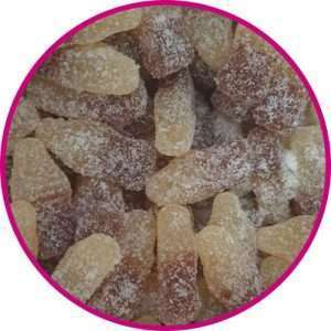 close up of fizzy cola bottles
