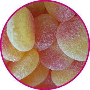 close up of fizzy peaches
