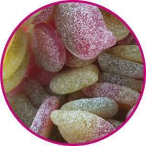close up of fizzy sour apples