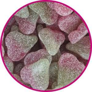 close up of fizzy twin cherry sweets