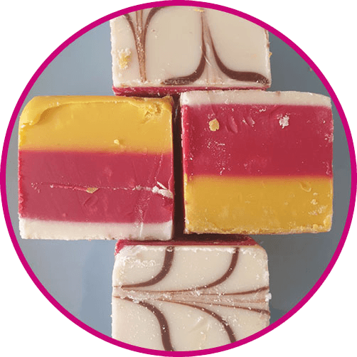 close up of cherry bakewell fudge