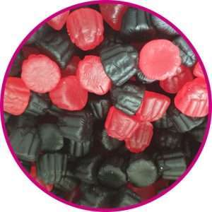 close up of blackberry and raspberry gummy sweets