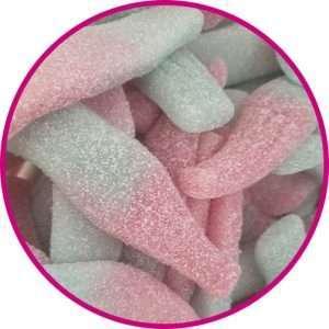 close up of large fizzy bubblegum bottles
