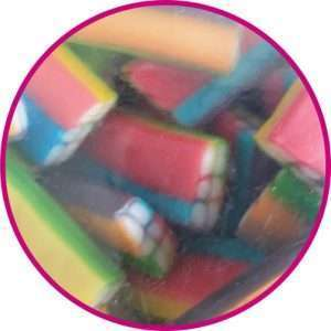 close up of multicolour brick sweets