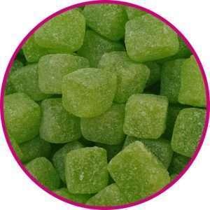 close up of sour apple cubes