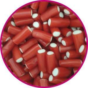 close up of strawberry pencil bite sweets